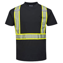 Load image into Gallery viewer, Enhanced Safety Black Short Sleeved Work T-Shirt - Safety Vest Warehouse