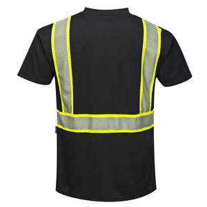 Enhanced Safety Black Short Sleeved Work T-Shirt - Safety Vest Warehouse
