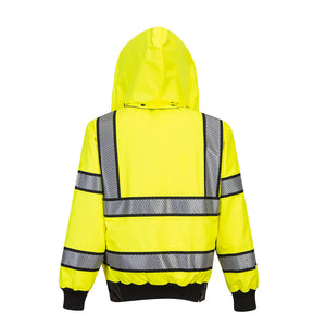 Custom Hi Vis Reversible Bomber Jacket with Reflective Segmented Tape