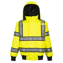 Load image into Gallery viewer, Custom Hi Vis Reversible Bomber Jacket with Reflective Segmented Tape