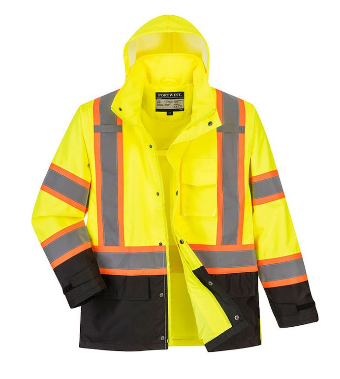 Custom Hi-Vis Rain Jacket with Reflective Tape