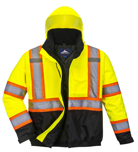 Hi-Vis 2-in-1 Winter Bomber Jacket in Yellow/Black with 2
