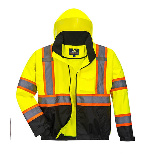 Custom High Visibility Class 3 Yellow/Black Winter Bomber Jacket