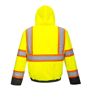 High Visibility Class 3 Two-Tone Yellow/Black Winter Bomber Jacket