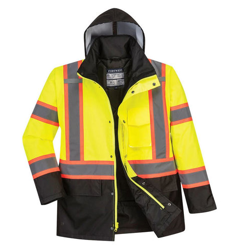 US369 Hi-Vis Yellow/Black Traffic Safety Jacket Class 3