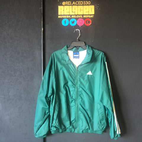 "Green Adidas ""Zip-Up"" Windbreaker"