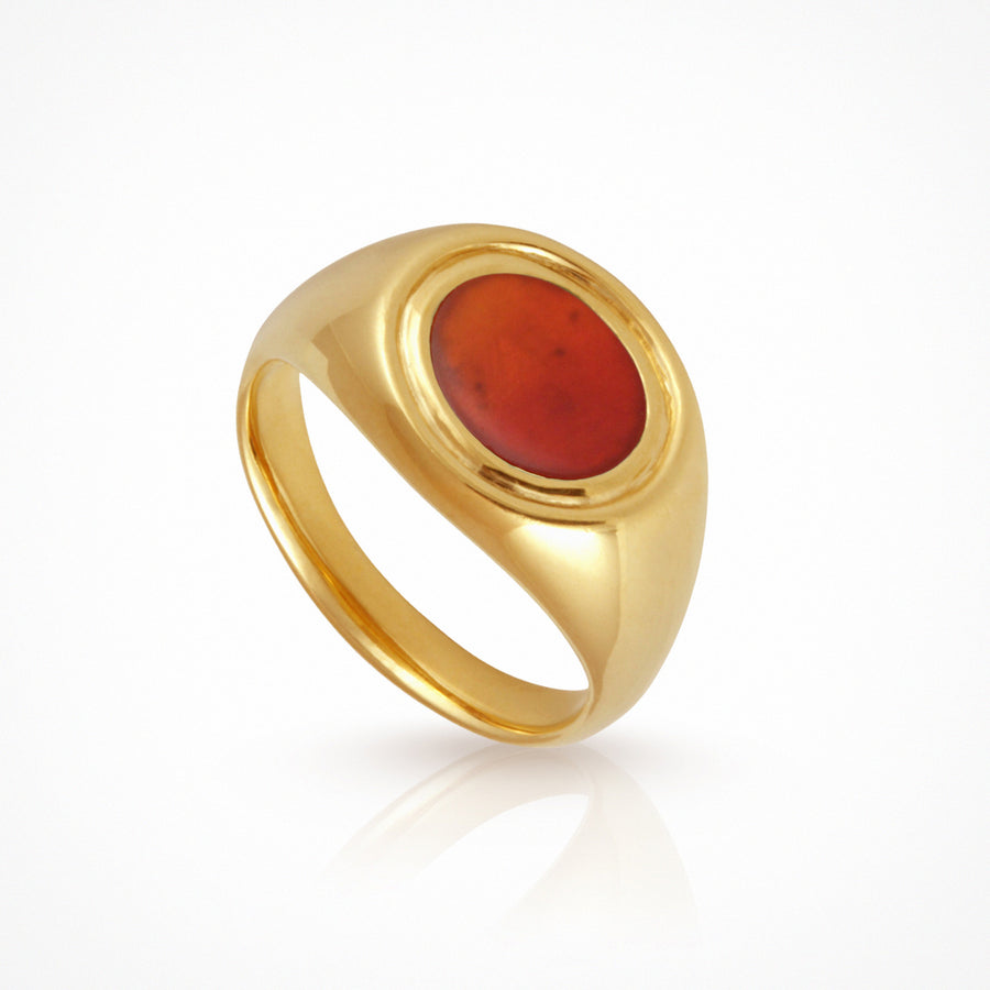Kosmos Ring Carnelian Gold