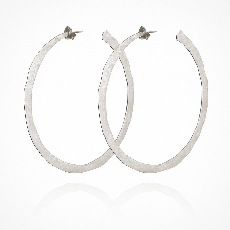 Large Hoop Earrings Brushed Silver