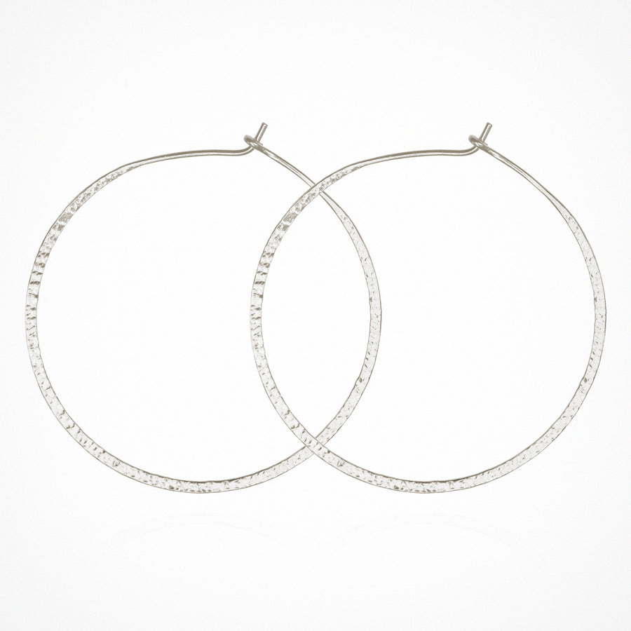 Simple Hoop Earrings Hammered Silver