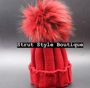 Red Fox fur Pom Pom hat
