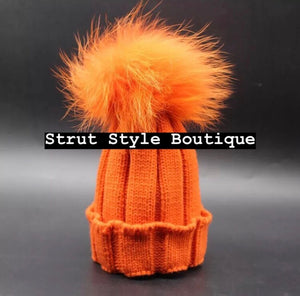 Orange Fox fur Pom Pom hat
