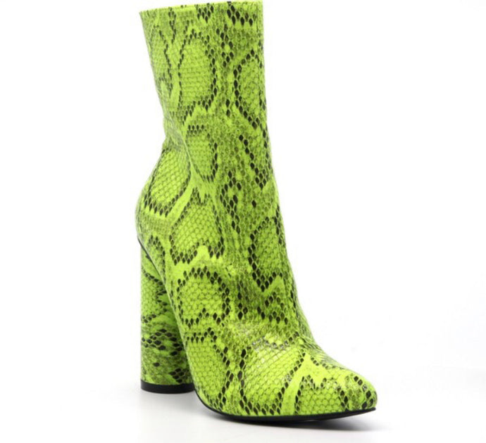 Neon Lime Snakeskin boot
