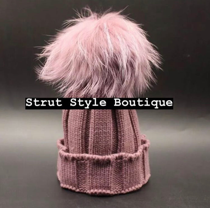 Mauve Fox fur Pom Pom hat