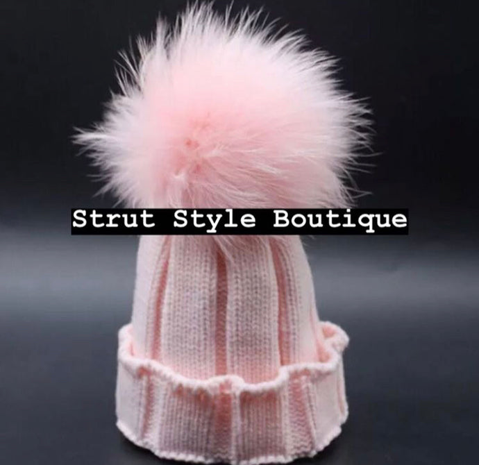 Pink Fox fur Pom Pom hat