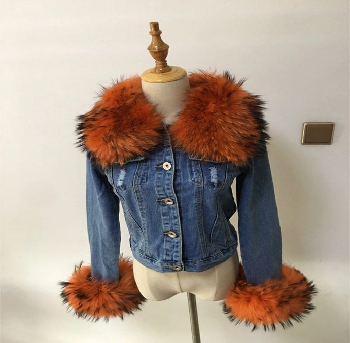 Denim fur jacket