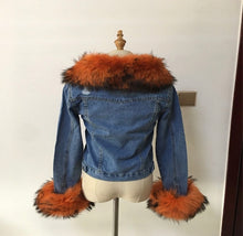 Load image into Gallery viewer, Denim fur jacket