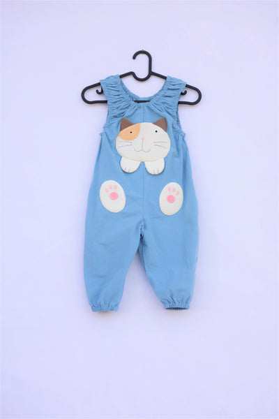 Blue, cat-themed jumper on a hanger with large, soft cat face pocket and cat paws in the front, sewn appliqué and embroidery detail in front view.