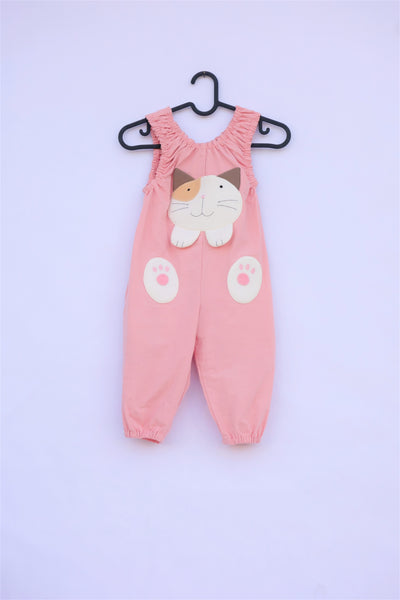 Pink, cat-themed jumper on a hanger with large, soft cat face pocket and cat paws in the front, two little fish friends swim on the back, sewn appliqué, embroidery details and side pockets in front view.