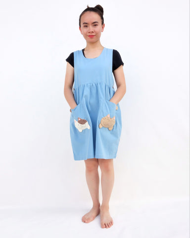 Adult Pocket-Kittens Dress (Blue)
