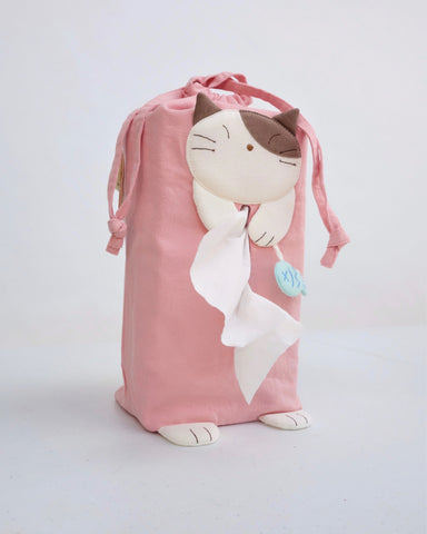 Sneezy-Cat Tissue Box Cover (Pink)