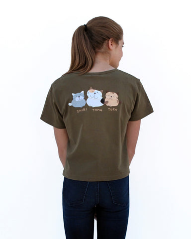 Woman wearing olive green, Cat Crop Top with three cat appliqué, embroidery details, V-neck and short sleeves in close-up back view.