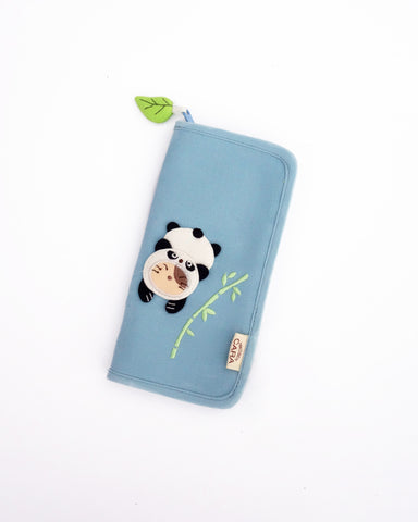 Panda Cat Slim Wallet (Sky Blue)