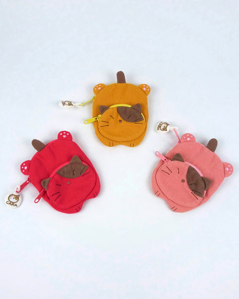 Cat Sploot Coin Purse (Watermelon Red)