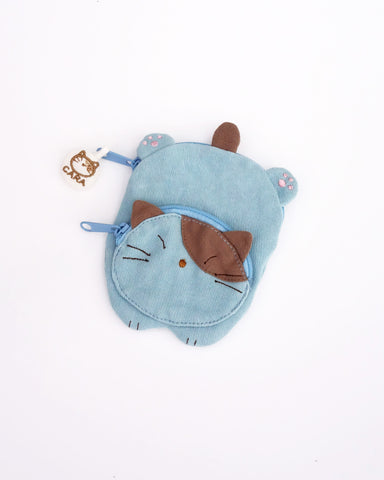 Cat Sploot Coin Purse (Sky Blue)
