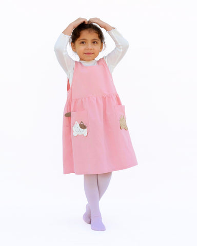 Children's Pocket-Kittens Dress (Pink)