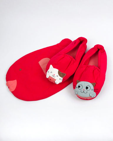 Fishy Slippers (Watermelon Red)