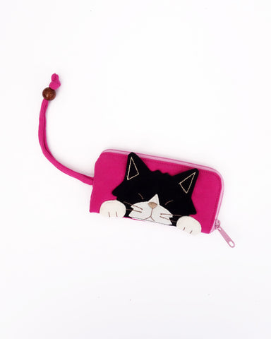 Curious Cat Key Pouch (Fuchsia)