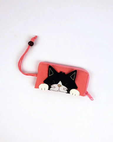 Curious Cat Key Pouch (Pink)