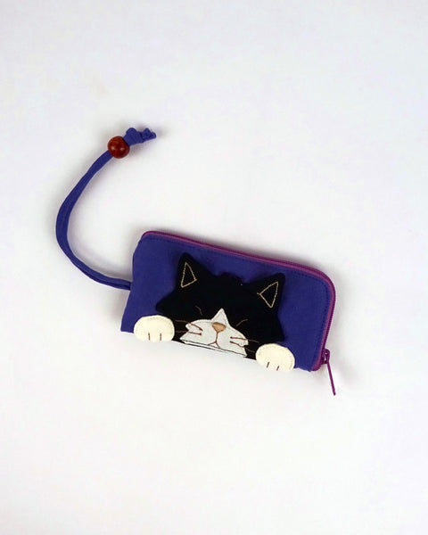 Curious Cat Key Pouch (Purple Blue)
