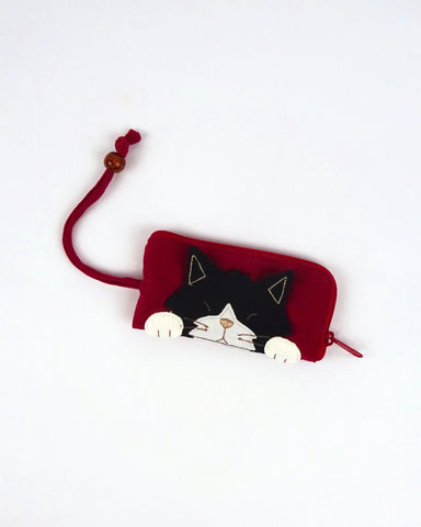 Curious Cat Key Pouch (Red)