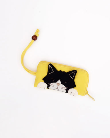 Curious Cat Key Pouch (Yellow)