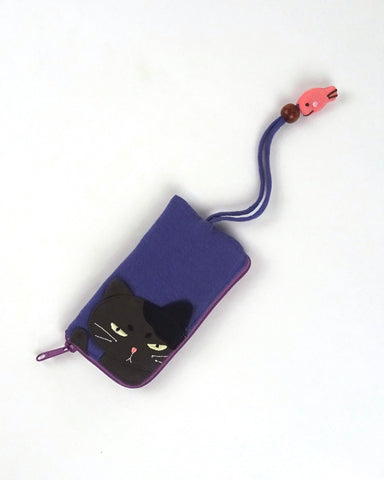 Grumpy Cat Key Pouch (Purple Blue)