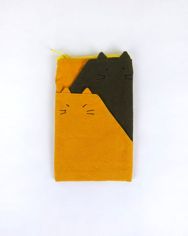 Mountain Cats Zipper Pouch (Yellow/ Olive Green)