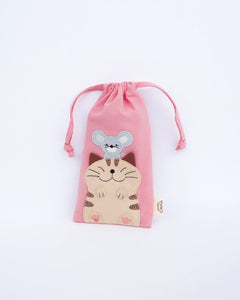 Lift Me Up Drawstring Pouch (Light Pink)