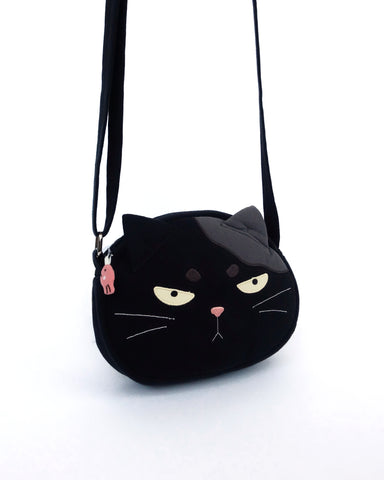Grumpy Cat Face Crossbody (Black)