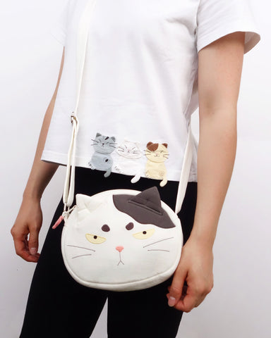 Grumpy Cat Face Crossbody (White)