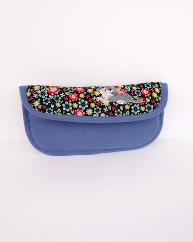 Blooming Padded Sunglasses Pouch (Blue Blossoms)