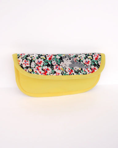 Blooming Padded Sunglasses Pouch (Golden Gardenias)