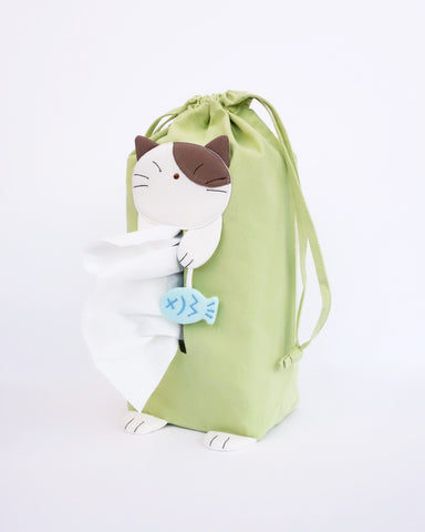 Sneezy Cat Tissue Box Cover (Spring Green)