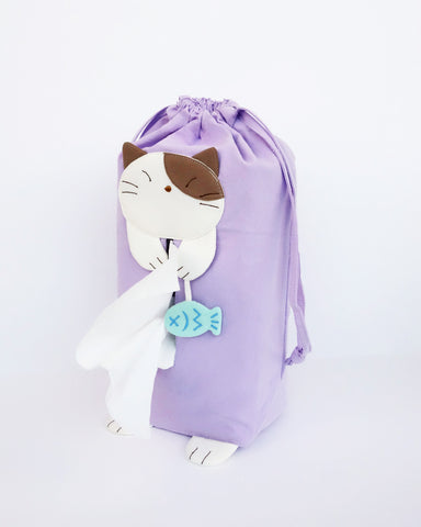 Cat tissue box cover in lilac with drawstrings, two hanging straps, cat appliqué, fish charm, and cat feet, in front view.