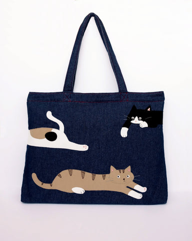 Taffy Cats Denim Laptop Bag