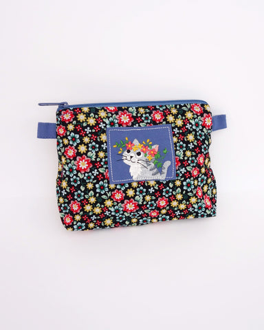Blooming Zip Pouch (Blue Blossoms)