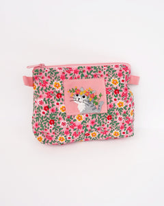 Cat Zip-Pouch in pink blossoms with embroidery detail, one main zippered compartment, two side loops for strap attachment for iPhone /small notebook / cosmetic items.