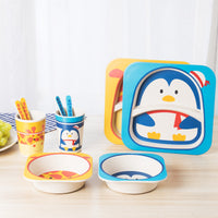 5pcs/set Children Baby Bamboo Fiber Tableware