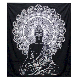 B&W Double Cotton Bedspread + Wall Hanging - Buddha