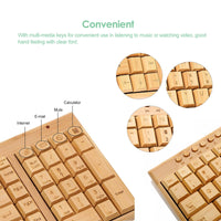 Handcrafted 2.4G Wireless Bamboo Keyboard and Mouse Combo